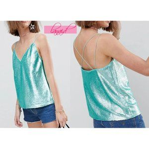 ASOS Sequin Cami V-Neck Turquoise Mermaid Holo Top